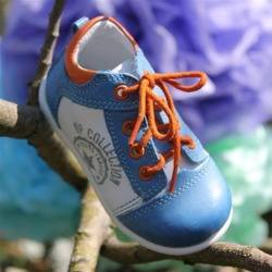 Emel Blue/White/Orange Leather Casual Shoes