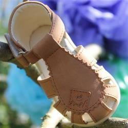 Emel Camel Brown Leather Semi Closed-up Sandals E2206