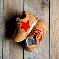 Emel Camel Brown/Red Leather Trainers 2450-1