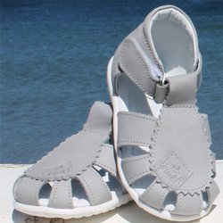 Emel Grey Leather Semi Closed-up Sandals E2206-5