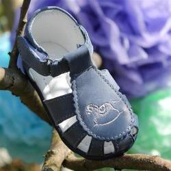 Emel Navy Leather Semi Closed-up Sandals E1670-3