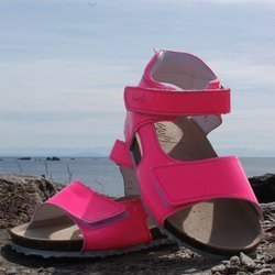 Emel Pink Patent Leather cork bed sandals E2508a
