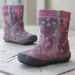 Emel Purple/Pink & Grey Flower Pattern suede leather Boots E1994b/k