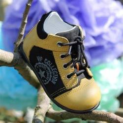 Emel Yellow & Black Leather/Suede Casual Shoes E2069-6
