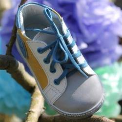 Emel Yellow/Grey/Blue Leather Trainers