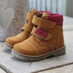 Emel camel yellow & pink leather Ankle Boots E2447A/K