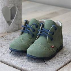 Emel green leather casual shoes E2341-7
