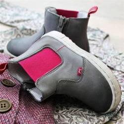 Emel grey leather chelsea boots E2620-6