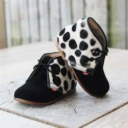 Emel suede/faux animal print ankle shoes E2393a-4