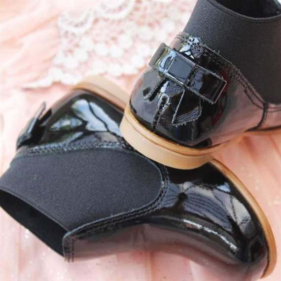 Emel Black Patent Bow Shoes E2593-k5