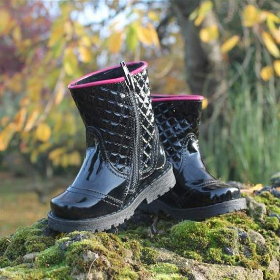 Emel Black Patent Leather Boots E2462-7