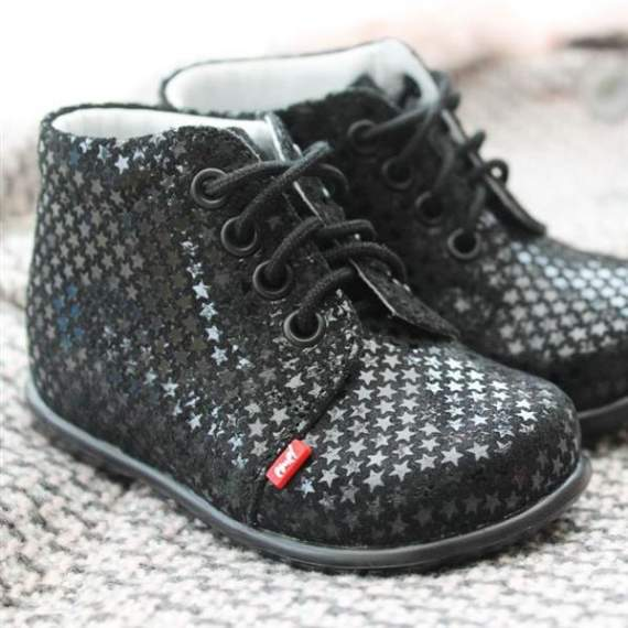 Emel Black Patterned First Walking Shoes E562b