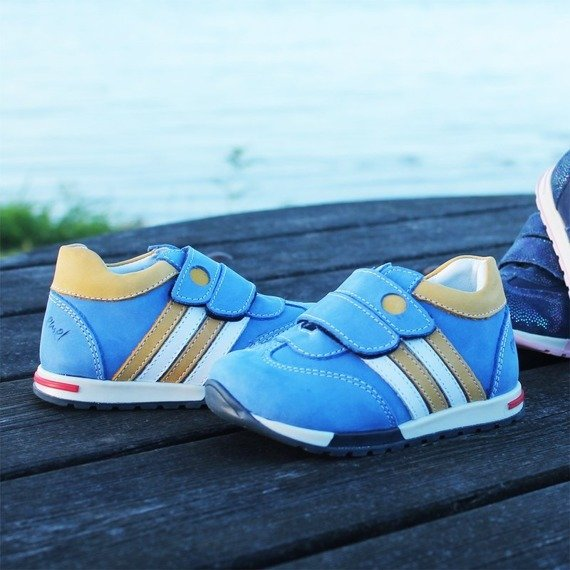 Emel Blue Leather Trainers 2333-18