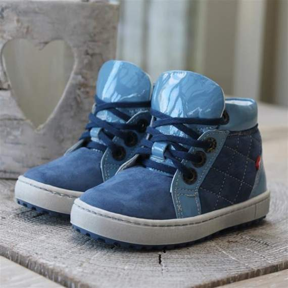 Emel Blue Nubuck/Patent Leather Casual Shoes E2601a