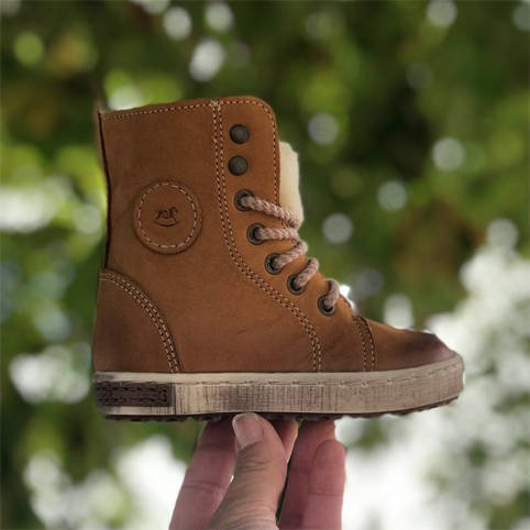 Emel Brown Leather Ankle Trainers E2651-2