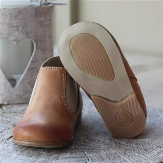Emel Camel Brown Leather Bow Shoes E2593-3