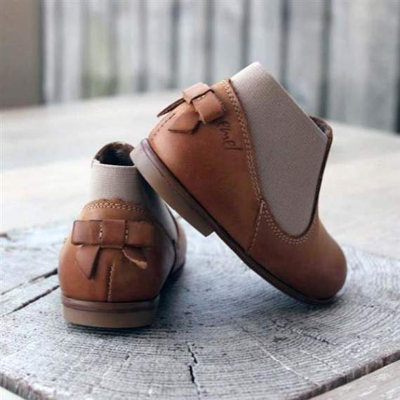 Emel Camel Brown Leather Bow Shoes with lining E2593-K3