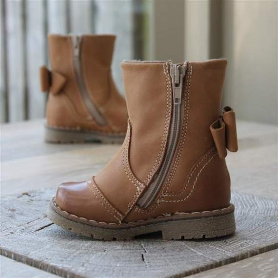 Emel Camel Brown leather Bow Boots E2443-5/K