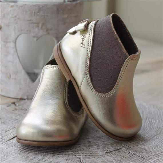 Emel Gold Leather Bow Shoes E2593
