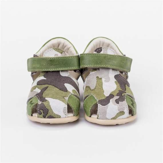 Emel Green Camouflage Pattern Suede Sandals E2390
