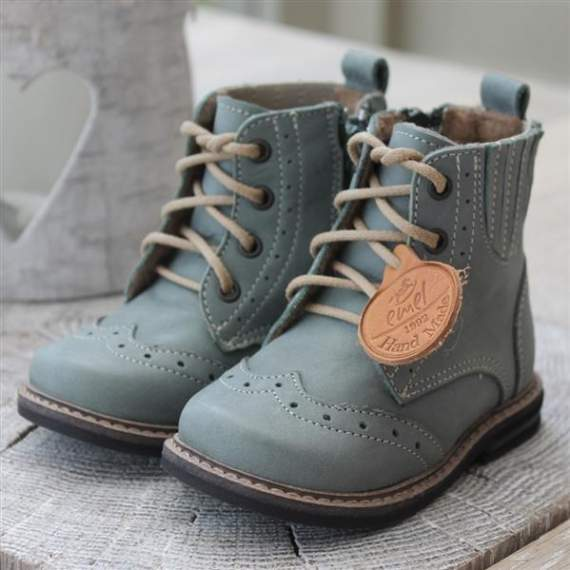 Emel Green Leather Brogue Ankle Boots E2519-4