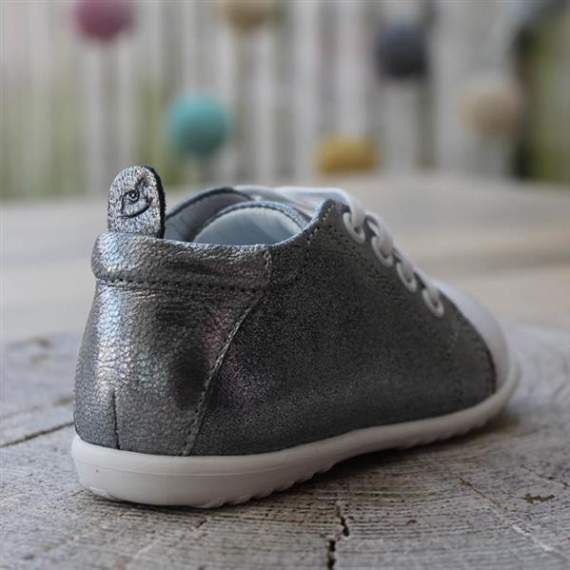 Emel Metallic Silver/Grey Leather Casual Shoes E2434-1