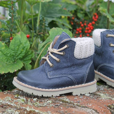 Emel Navy Blue Leather Ankle Boots E2540-1