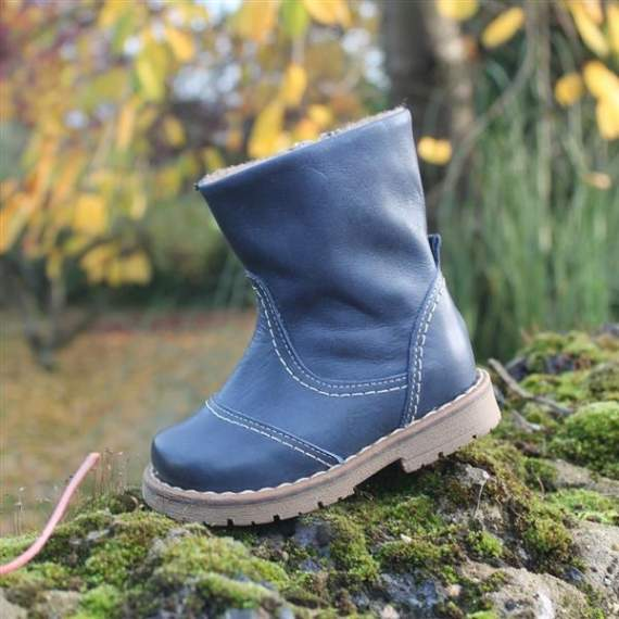 Emel Navy Leather Boots E2462-6