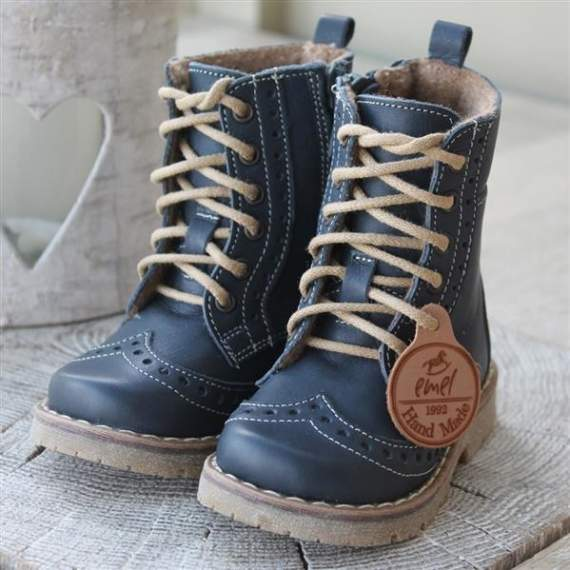 Emel Navy Leather Brogue Boots E1183-7