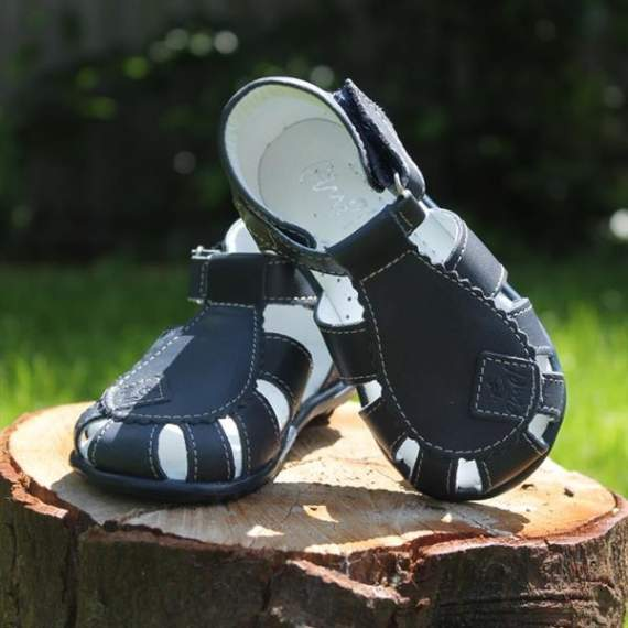 Emel Navy Leather Semi Closed-up Sandals E2206-8