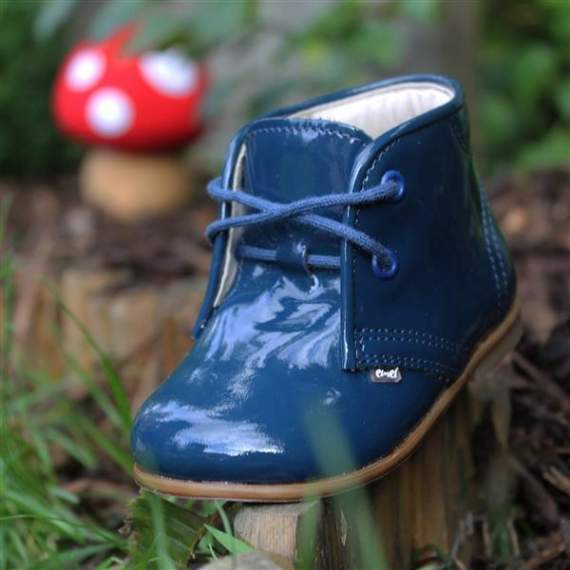 Emel Navy Patent Leather Ankle Shoes E2393-4