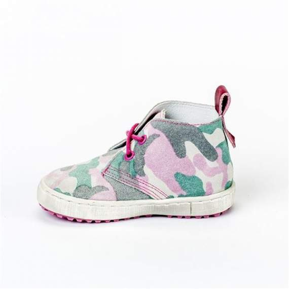 Emel Pink/Green Camouflage Pattern Suede Casual Shoes E2284-1