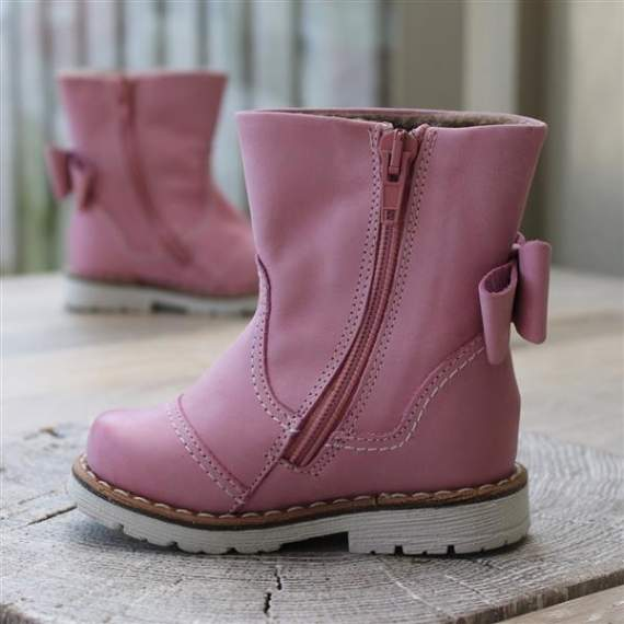 Emel Pink Leather Bow Boots E2443-4