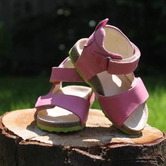 Emel Pink Leather Cork Bed Sandals E2508