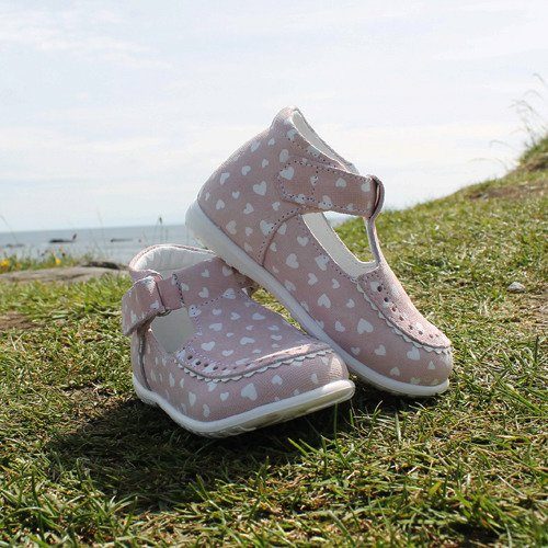 Emel Pink/White Hearts Soft Leather Pumps E2371