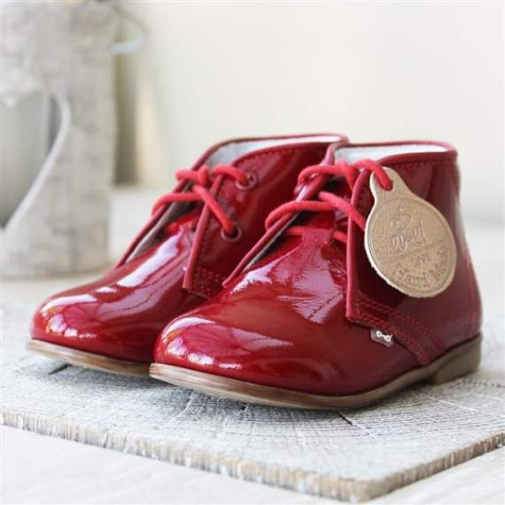 Emel Red Patent Leather Ankle Shoes E2393-1