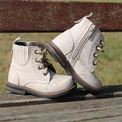 Emel White Leather Brogue Ankle Boots E2519-1