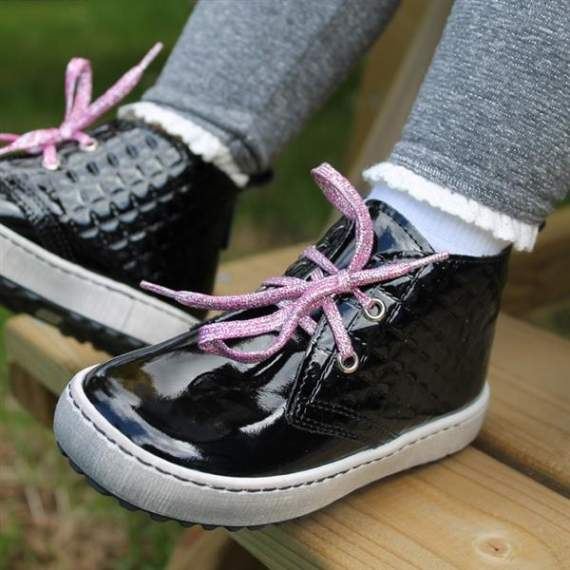 Emel black patent leather casual shoes E2604-1