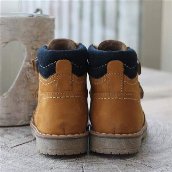 Emel camel yellow & navy leather Ankle Boots E2447a-2