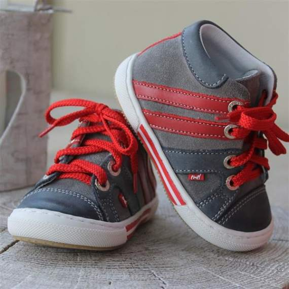 Emel grey/red suede leather trainers E1539-2