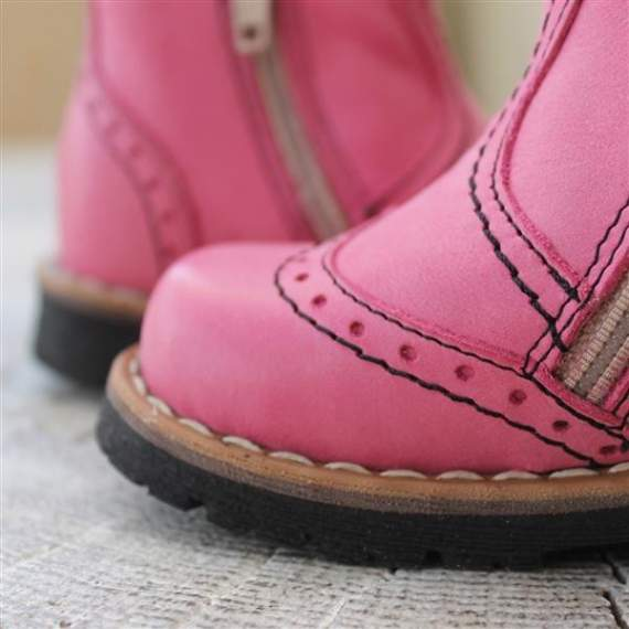 Emel pink leather ankle boots E1967-6
