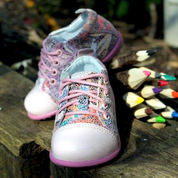 Emel pink mosaic butterflies effect leather casual shoes E2434a