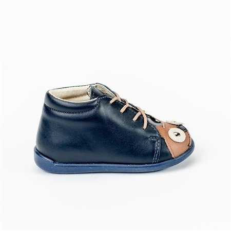MRUGALA DARK BLUE BEAR LEATHER ANKLE SHOES  5101-70