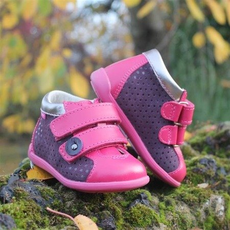 MRUGALA DARK PINK LEATHER TODDLER SHOES 0101-24